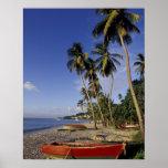 El CARIBE, Grenada, San Jorge, barcos en la palma Póster
