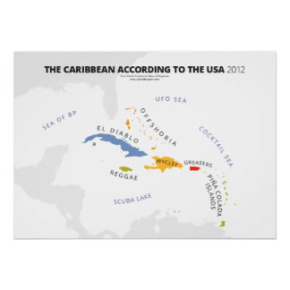 El Caribe según los E.E.U.U. Póster