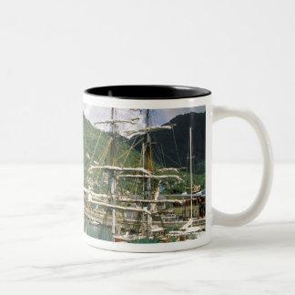 El Caribe, St Lucia, Soufriere. Barcos adentro Taza De Dos Tonos