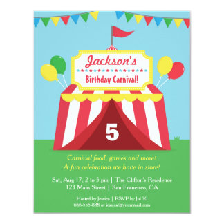 El carnaval colorido embroma la invitación de la invitación 10,8 x 13,9 cm