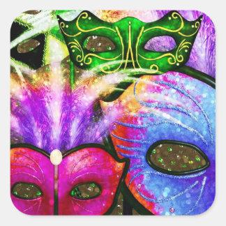 El carnaval colorido enmascara a los pegatinas pegatina cuadrada