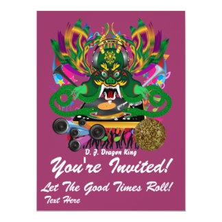 El carnaval D.J. Dragon rey visión hace alusión Invitación 16,5 X 22,2 Cm