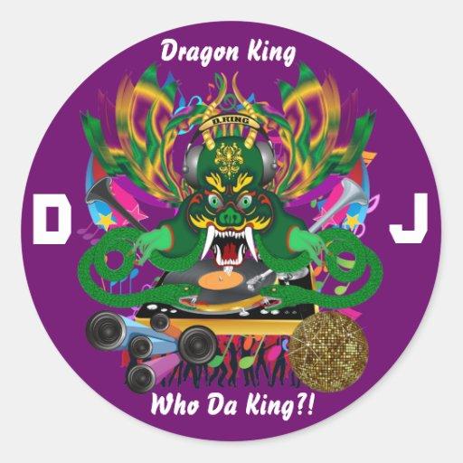 El carnaval D.J. Dragon rey visión hace alusión Etiquetas Redondas