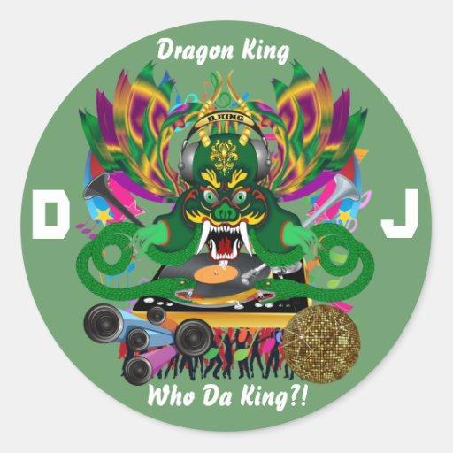 El carnaval D.J. Dragon rey visión hace alusión Pegatina Redonda