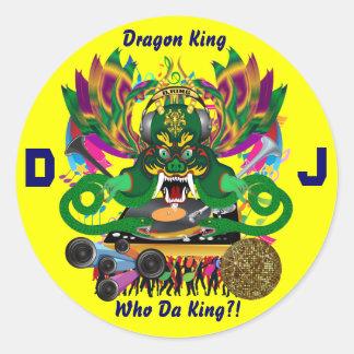 El carnaval D.J. Dragon rey visión hace alusión Pegatinas Redondas