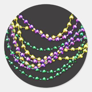 El carnaval gotea los collares pegatina redonda