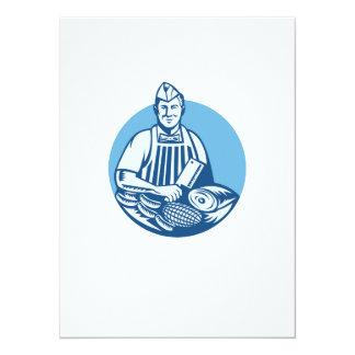 """El carnicero con la carne de la cuchilla de carne invitación 5.5"""" x 7.5"""""""