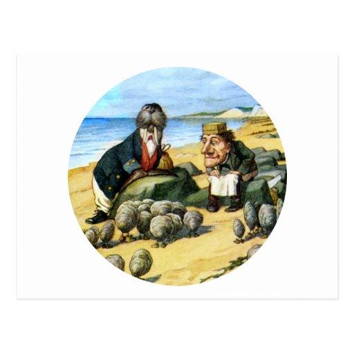 El carpintero y la morsa consideran ostras tarjetas postales