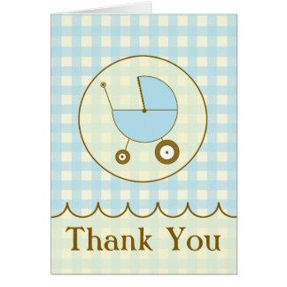 El carro de bebé azul de la guinga le agradece tarjeta pequeña