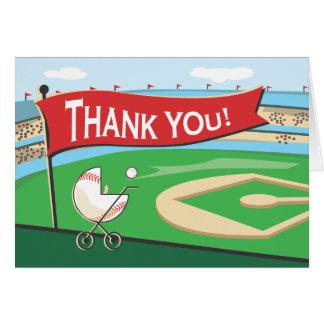 El carro de bebé del béisbol le agradece cardar tarjeta pequeña