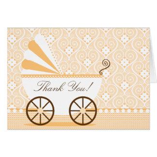 El carro de bebé del vintage le agradece tarjeta d