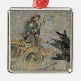 El carro de Mercury, detalle de la bóveda Adorno Cuadrado Plateado