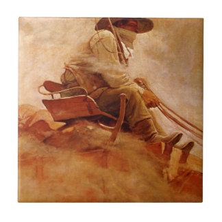 El carro del mineral por NC Wyeth, vaqueros del Azulejo Cuadrado Pequeño
