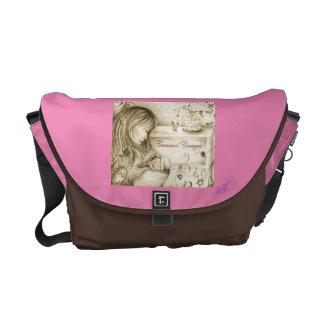 El carrusel del vintage soña el carrito rosado bolsa de mensajeria