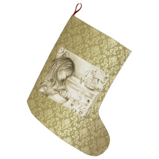 El carrusel del vintage soña el damasco del oro bota navideña grande