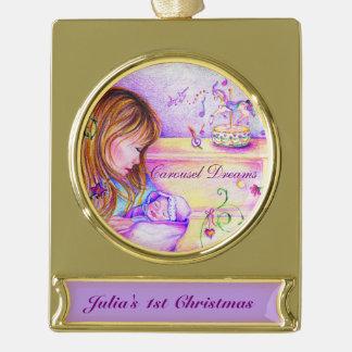 El carrusel soña el ornamento plateado oro de la rótulos de adorno dorado
