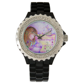 El carrusel soña el reloj negro con los diamantes