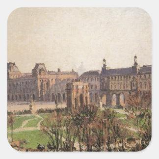 El carrusel, tarde de Camille Pissarro Pegatina Cuadrada