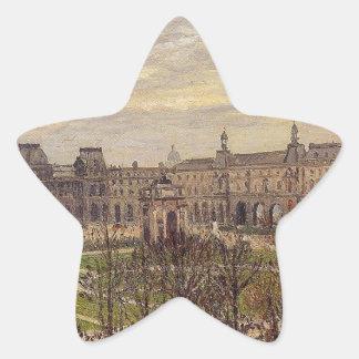 El carrusel, tiempo gris de Camille Pissarro Pegatina En Forma De Estrella