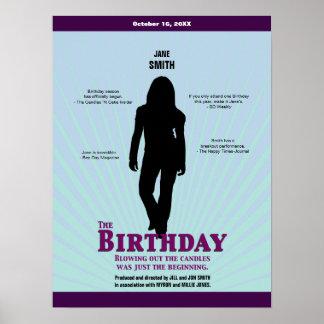 El cartel de película del cumpleaños (chica) póster