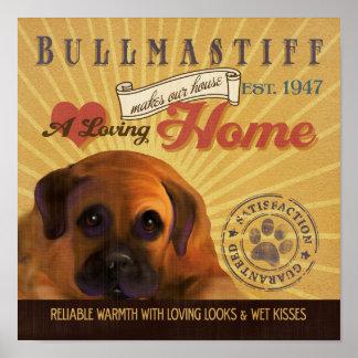 El cartel del arte del perro de Bullmastiff hace n Poster