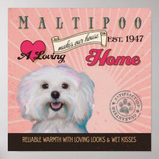 El cartel del arte del perro de Maltipoo hace nues Posters