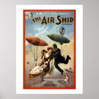 El cartel del teatro del vintage del dirigible póster