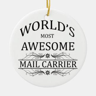 El cartero más impresionante del mundo adorno navideño redondo de cerámica