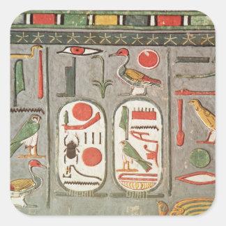 El cartouche del rey pegatina cuadrada