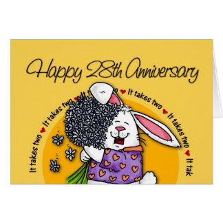 El casarse - 28vo cuarto aniversario feliz tarjeta de felicitación