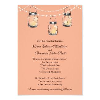 """El casarse - 3 tarros de albañil colgantes invitación 5"""" x 7"""""""