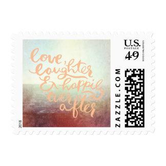 El casarse al aire libre del océano de la playa sellos postales