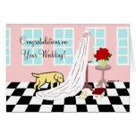 El casarse amarillo de la enhorabuena de Labrador Tarjeta