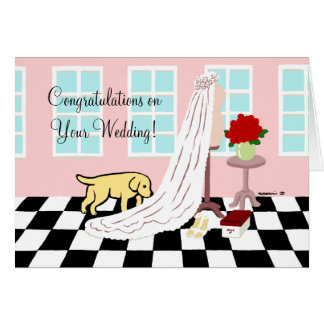 El casarse amarillo de la enhorabuena de Labrador Tarjeta De Felicitación