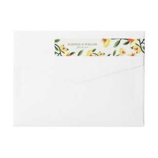 El casarse amarillo de las amapolas etiquetas postales