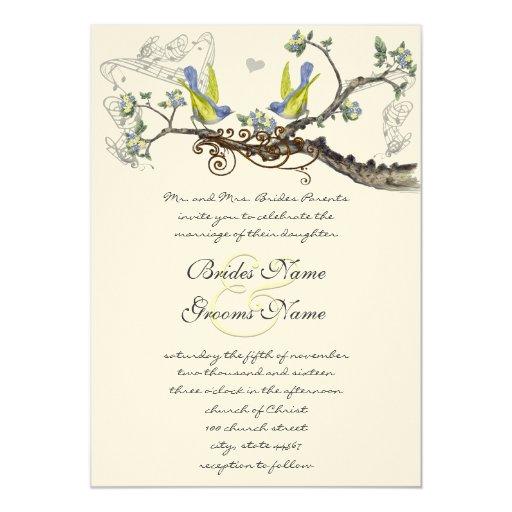 """El casarse amarillo y gris de los pájaros del invitación 5"""" x 7"""""""