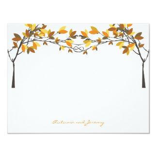 """El casarse anudado otoño de los árboles de amor de invitación 4.25"""" x 5.5"""""""