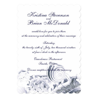 """El casarse artístico simple de los Seashells de Invitación 5"""" X 7"""""""