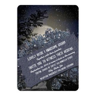 El casarse azul encantado de las luces del árbol invitación 12,7 x 17,8 cm