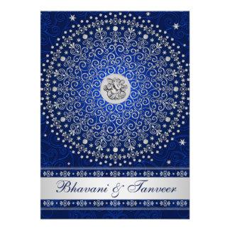 El casarse azul hindú de las volutas de la plata d comunicado