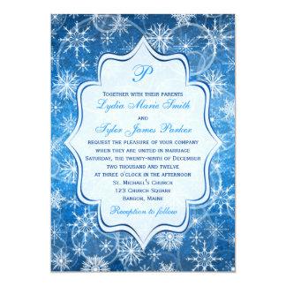 """El casarse azul y blanco del monograma de los invitación 5"""" x 7"""""""
