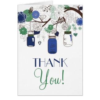 El casarse azul y verde de los tarros de albañil l tarjeta