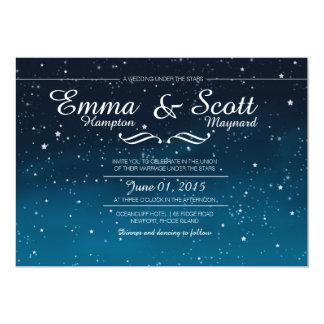 El casarse bajo invitaciones de las estrellas invitación 12,7 x 17,8 cm
