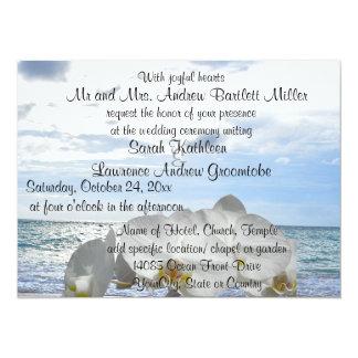"""El casarse blanco de las olas oceánicas de la invitación 5.5"""" x 7.5"""""""