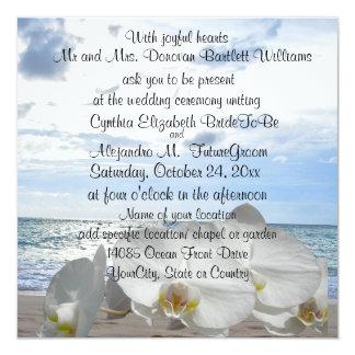 """El casarse blanco de las olas oceánicas de las invitación 5.25"""" x 5.25"""""""