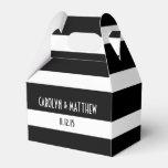 El casarse blanco negro elegante de las rayas caja para regalos de fiestas