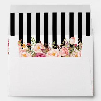 el casarse blanco negro floral de las rayas del sobres