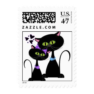 El casarse caprichoso de los gatos timbres postales