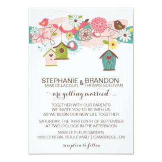 El casarse colorido de las casas de los pájaros y invitación 12,7 x 17,8 cm