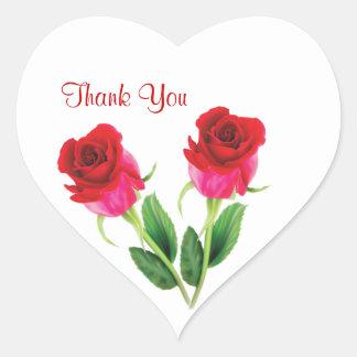 el casarse de 2 rosas rojos le agradece pegatina